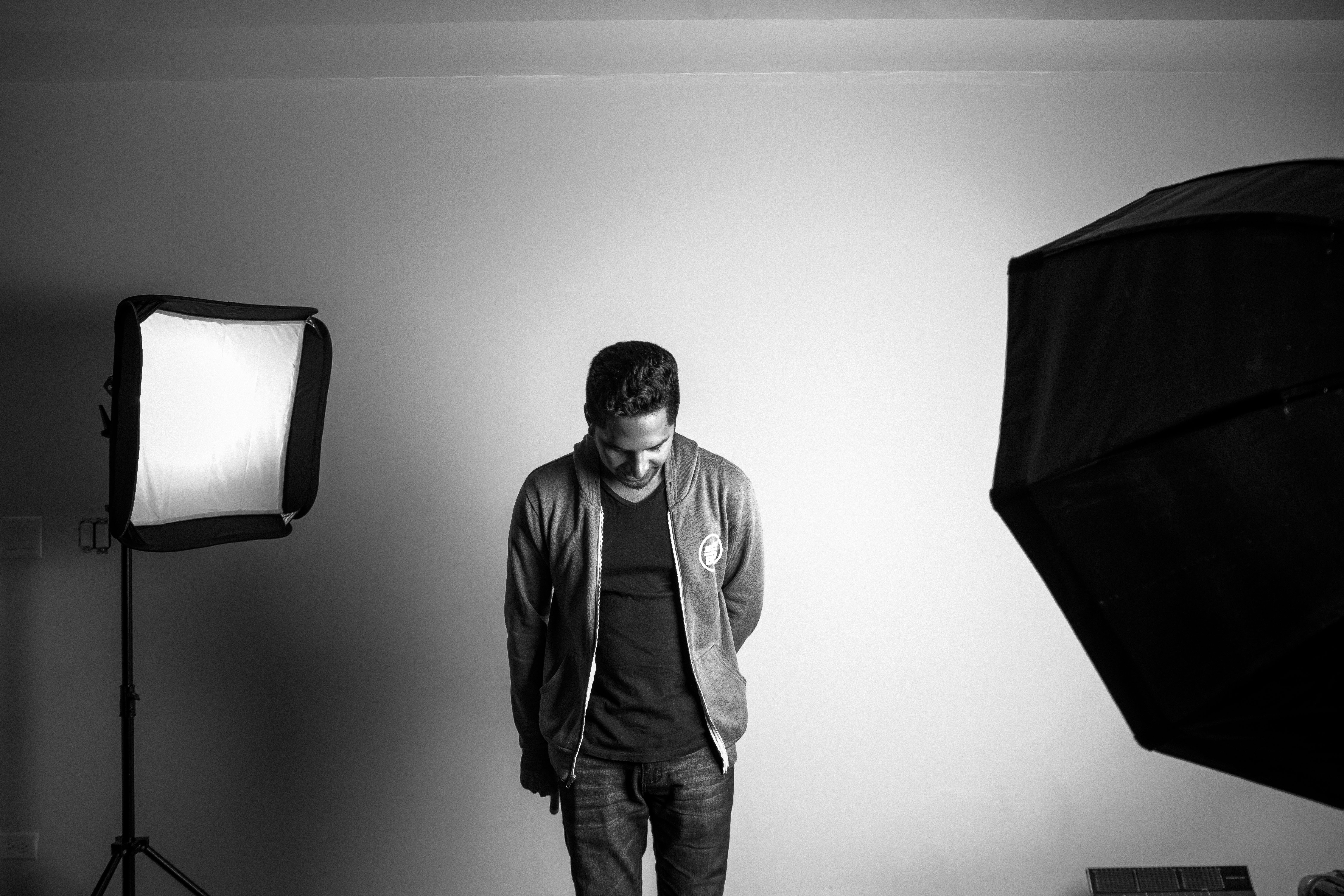 Canva - Grayscale Photography of Standing Man in Studio